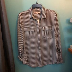 Loft Gray Striped blouse